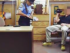 Latin police officer with big tits gets smashed by pawn guy