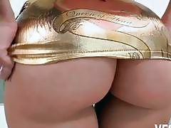 Anikka Albrite covers ass with choco and milk then fucked